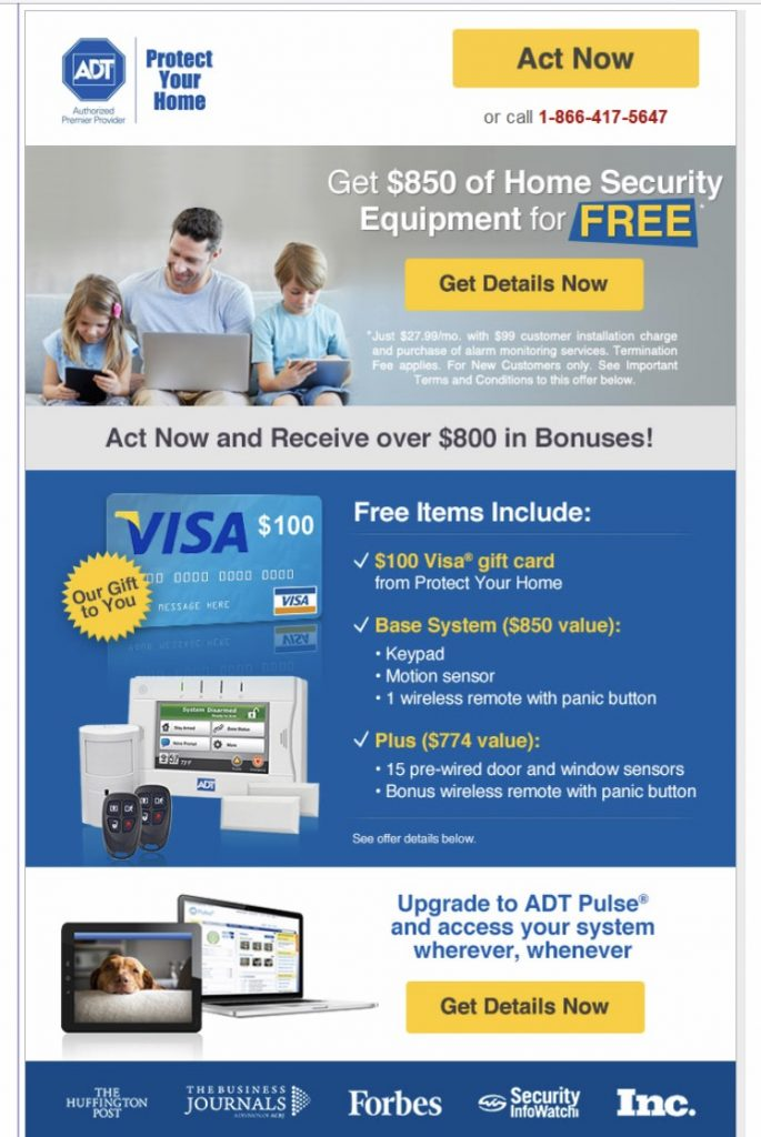 ADT Home Security and their Free Equipment Dealer Scam